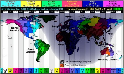 EarthSunX with Timezones Map